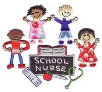 Graphic children around sign saying school nurse