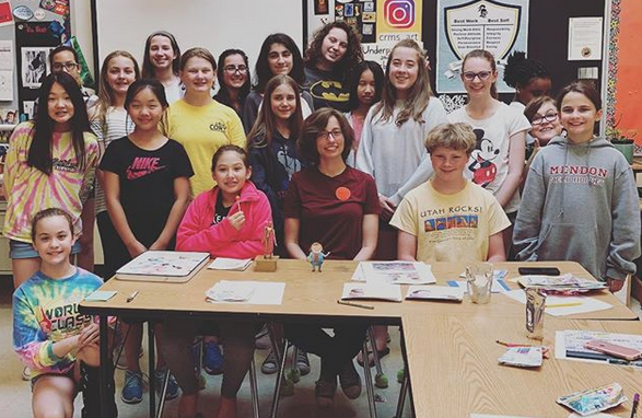 Students with cartoonist Jackie E. Davis of Overbites and Underpants