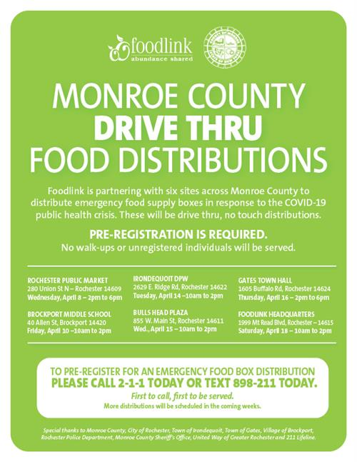 Monroe County Drive Thru Food Distributions