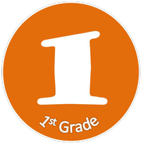 Orange circle with words first grade