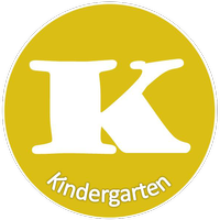 Yellow circle with word Kindergarten