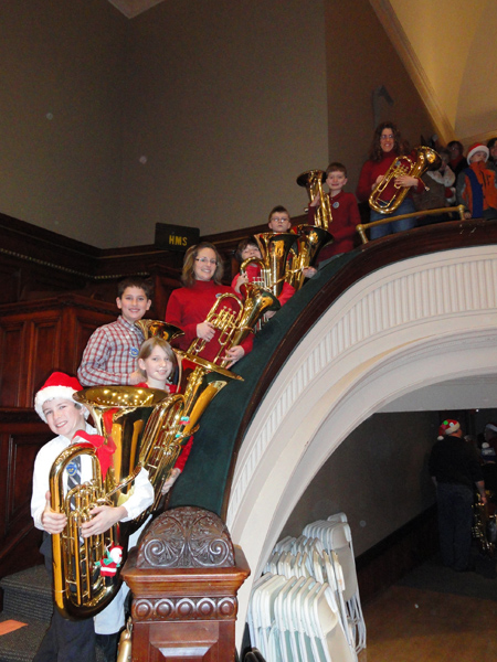 Music students on stairway