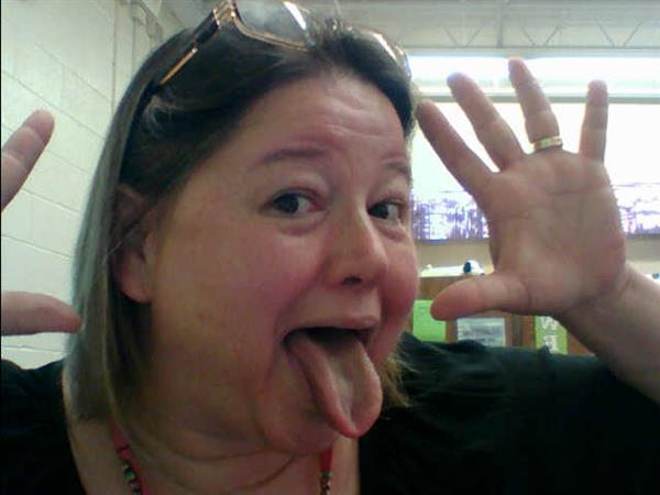 Mrs. Carpin making a silly face