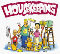 Housekeeping Cartoon people with brooms