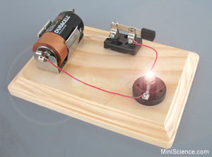 electrical circuit with a battery, bulb, wires, and a switch
