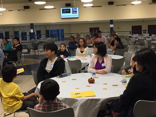 Families at the English Language Learners' Family Welcome Night