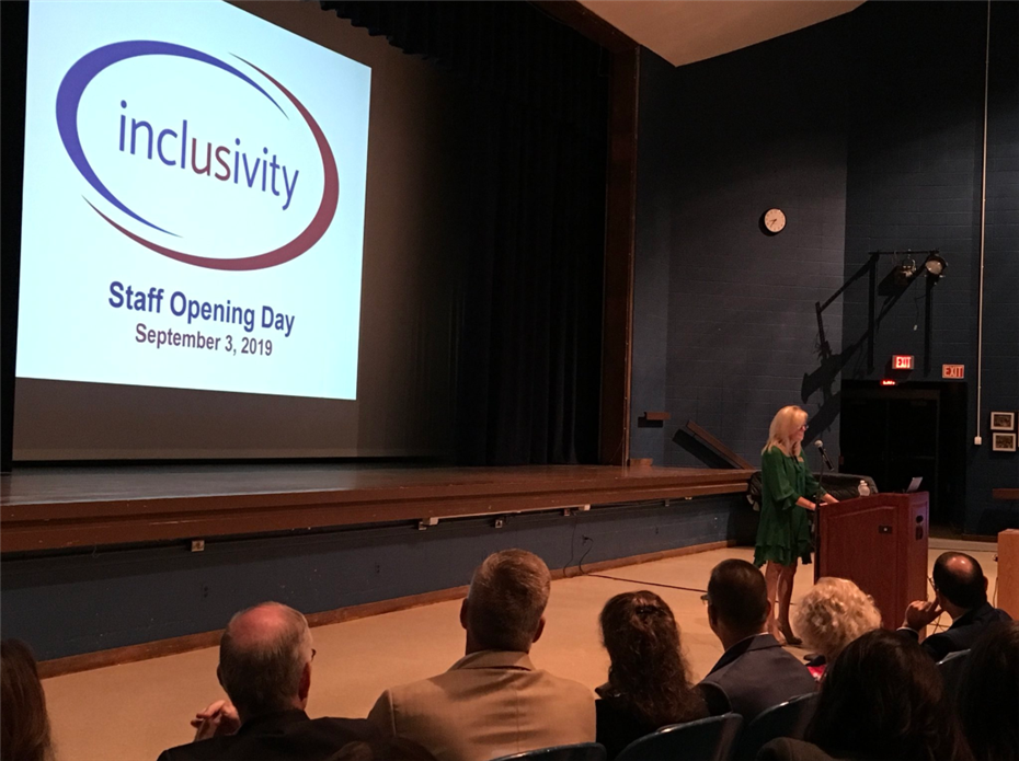 Board of Education President Amy Thomas speaking at 2019 Opening Day