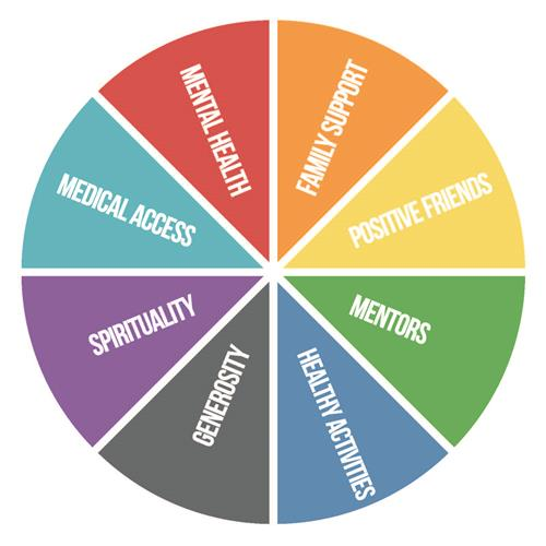 """Wheel of Strengths"" is as a visual representation of each individual's potential ""Sources of Strength."""
