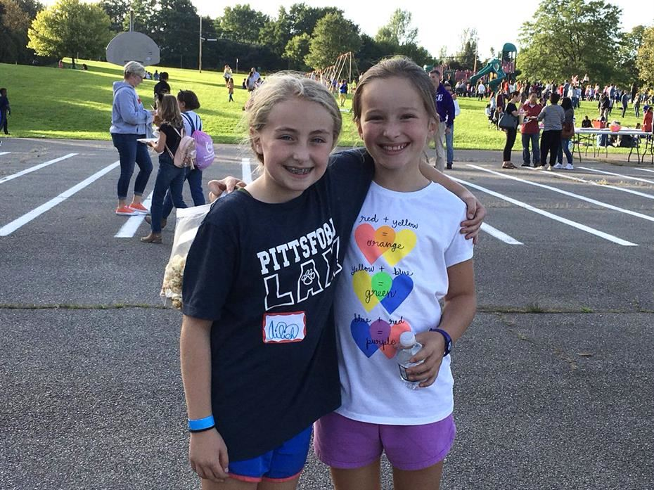 Two students at the Mendon Center Elementary School Welcome Back Picnic