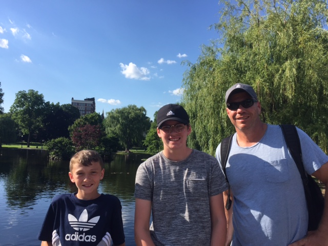 Dietz's husband and sons in Boston Common
