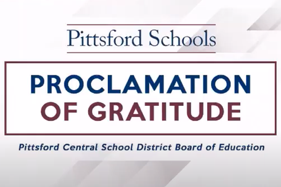 Proclamation of Gratitude Pittsford Central School District Board of Education