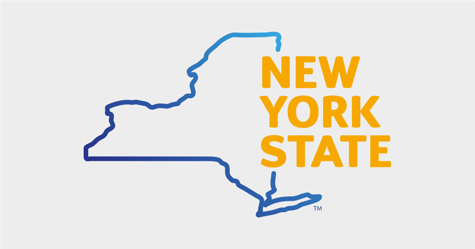 outline of the sate of New York with words New York State