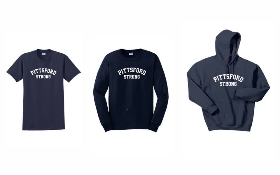 Pittsford Strong shirts and a hoodie