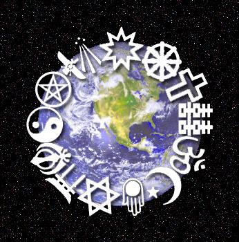 Photo of the earth with different religious symbols around the it