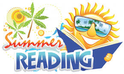 Summer reading graphic with a sun holding a book