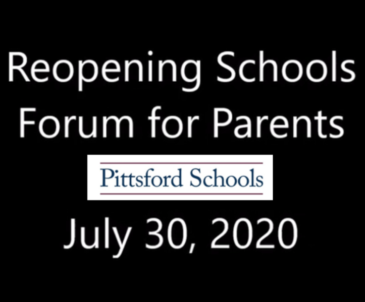 Video of the July 30 Parent Forum on the Reopening of Schools