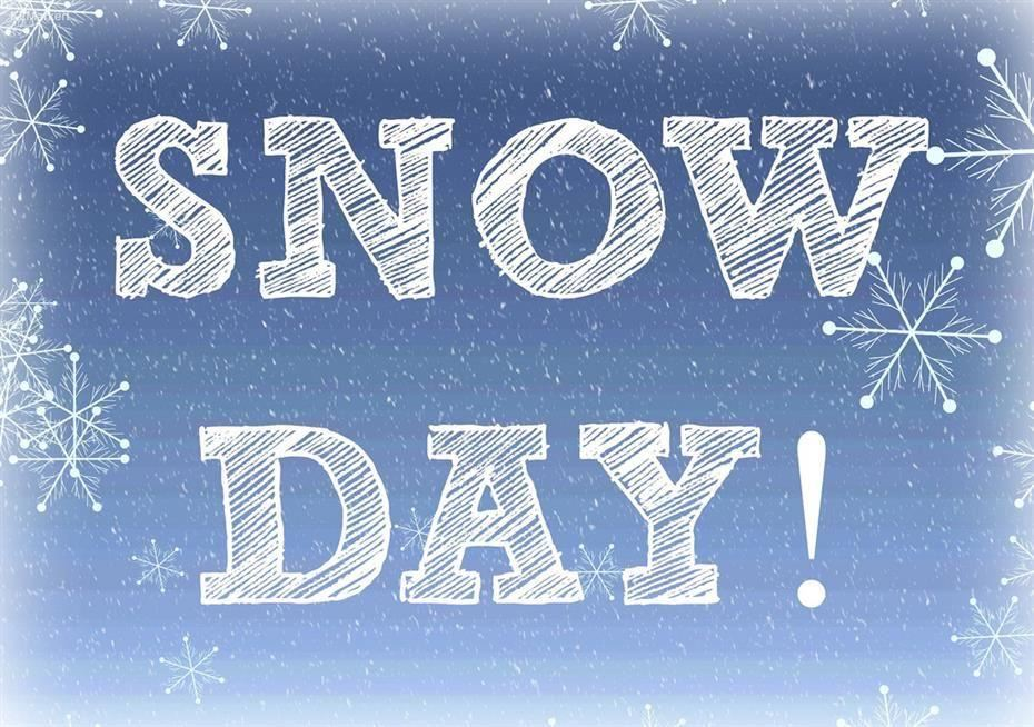 blue background and snowflakes with the words Snow Day