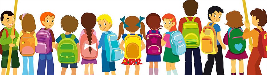 graphic of students with backpacks lined up