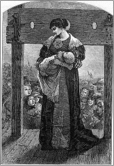 A black and white engraving of Hester Prynne, standing alone on the pillory with her infant and surrounded by a crowd.