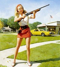 A 1960's style graphic of a young blond women in a short skirt holding a rifle in front of a house, lawn, and muscle car.