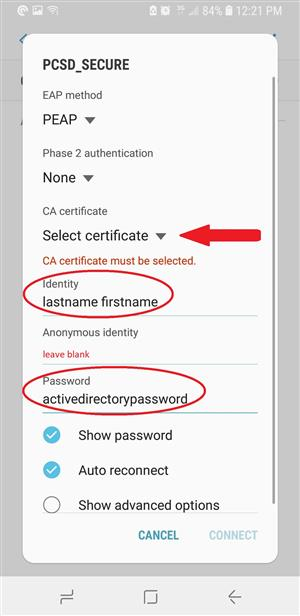 "PCSD Secure sign in procedures including select ""Don't Validate"" as Certificate & enter ""Identity"" & ""Password"" with AD creds"