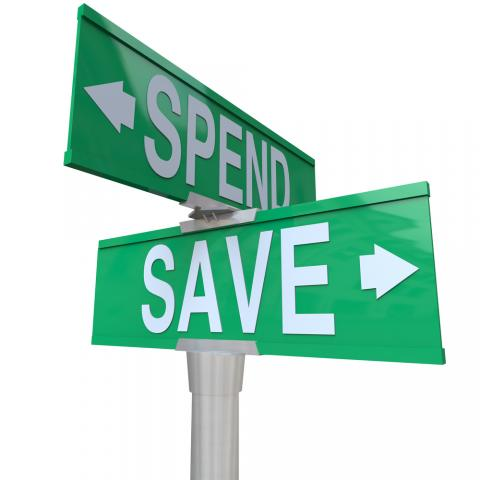save spend street sign picture