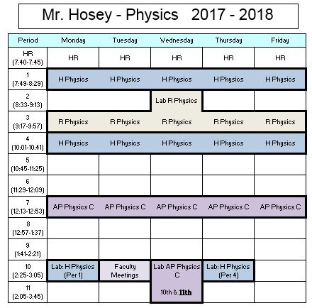 Mr. Hosey Schedule 2017 - 2018